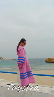Summer Beach Dress, ethno style boho chic, Bohemian Dress Multi Color Linen, bohemian attire