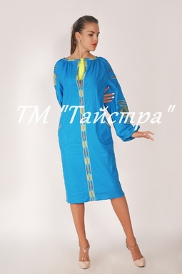 Embroidered dress Boho, ethno, style boho chic, Bohemian, Vyshyvanka Dress Multi Color Embroidery Linen, Ukrainian embroidery, Blue Dress