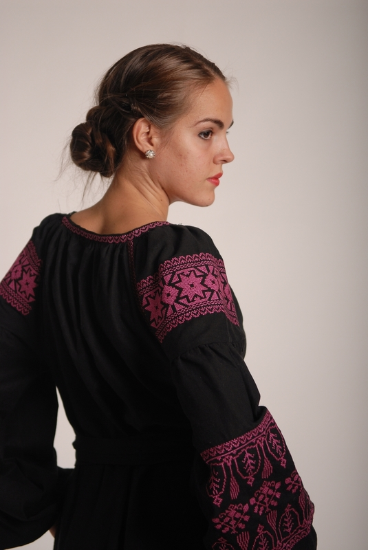Boho dress embroidered , Black linen, ethno, style boho chic, Bohemian Vyshyvanka Dress Multi Color Embroidery Linen, Ukrainian embroided