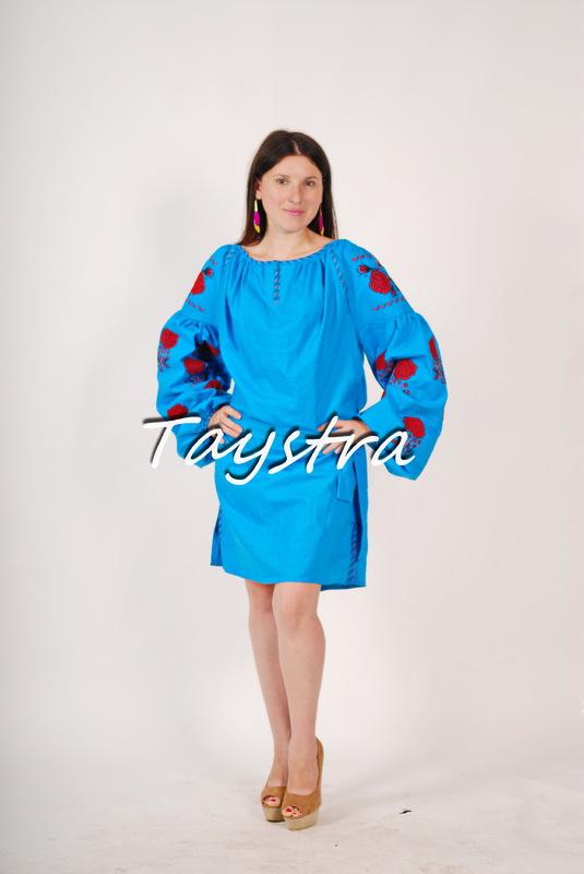 Vyshyvanka Blue Tunic Ukrainian embroidery, Mini Dress, Boho, ethno, style boho chic, Embroidered dress, Multi Color Embroidery Linen