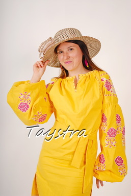 Yellow Tunic Vyshyvanka Ukrainian embroidery,Yellow Mini Dress, Boho, ethno, style boho chic, Embroidered dress, Multi Color Embroidery Linen