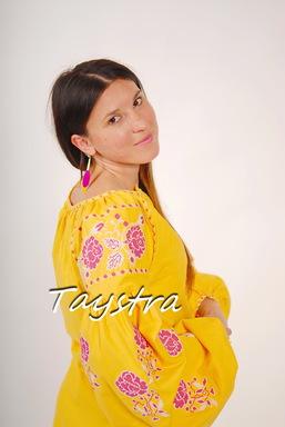 Yellow Tunic Vyshyvanka Ukrainian embroidery,Yellow Mini Dress, Boho, ethno, style boho chic, Embroidered dress, Multi Color Embroidery Linen