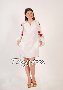 White Tunic Vyshyvanka Boho Dress Ukrainian embroidery, ethnostyle boho chic, Embroidered dress, Multi Color Embroidery Linen