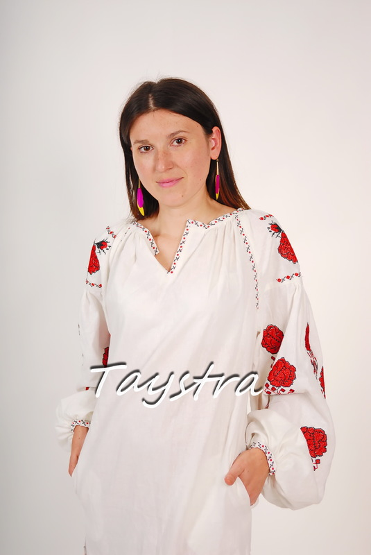 White Tunic Vyshyvanka Boho Dress Ukrainian embroidery, ethnostyle boho chic, Embroidered dress, Multi Color Embroidery Linen