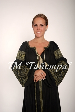 Boho dress embroidered , Black linen, ethno, style boho chic, Bohemian Vyshyvanka Dress Multi Color Embroidery Linen, Ukrainian embroided