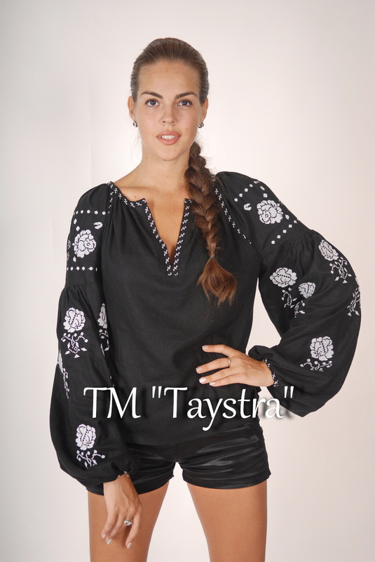Vyshyvanka Embroidered Black Blouse Linen Boho style, Bohemian, ethno,Ukrainian embroidery, Embroidered clothes Bohemian, ethno