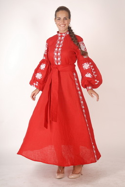 Vyshyvanka Red Maxi Dress Ukrainian embroidery, Boho, ethno, Embroidered Wedding Dress, Embroidered Dress, Multi Color Embroidery Linen