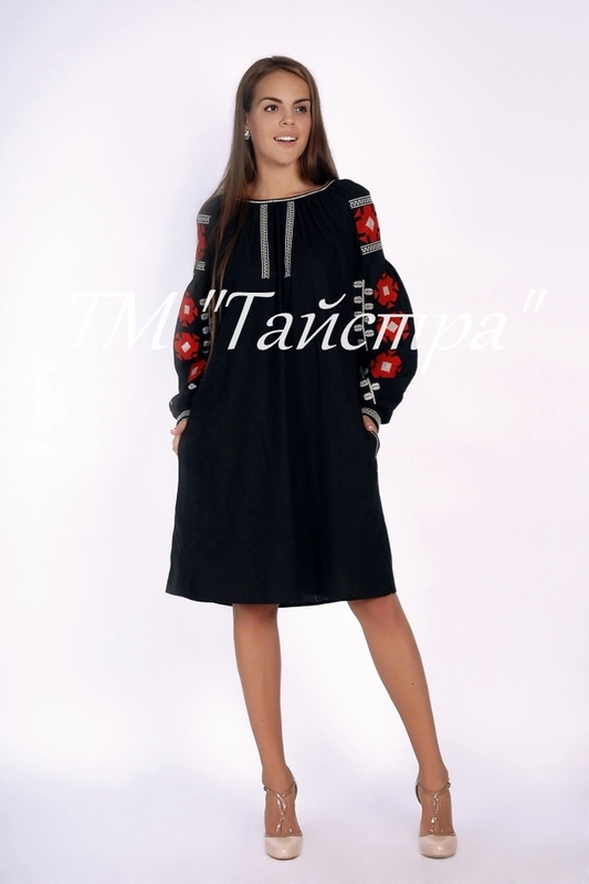 Vyshyvanka Black Dress, boho, embroidered linen, ethno, style boho chic, Midi Dress,Embroidered dress, Multi Color Embroidery Linen