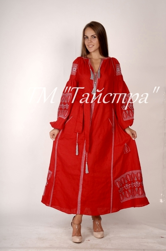 Red dress boho embroidered linen, ethno, style boho chic, Bohemian Vyshyvanka Dress Multi Color Embroidery Linen, Ukrainian embroidery