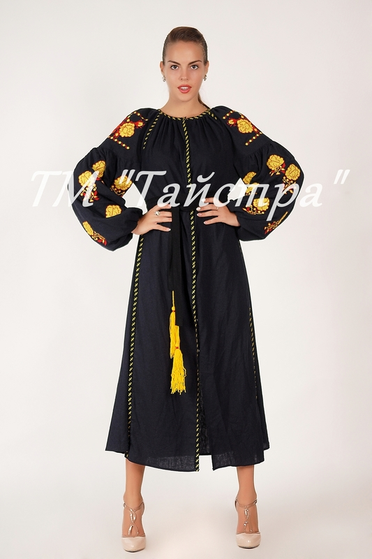 Vyshyvanka Black Dress Ukrainian embroidery, Boho, ethno, style boho chic, Embroidered dress, Multi Color Embroidery Linen