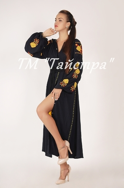 Vyshyvanka Black Dress Ukrainian embroidery, Boho, ethno, style boho chic, Embroidered dress, Multi Color Embroidery Linen