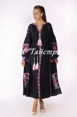 Boho dress embroidered, Maxi Dress Linen, ethno, style boho chic, Bohemian Vyshyvanka Dress Multi Color Embroidery Linen, Ukrainian embroidery