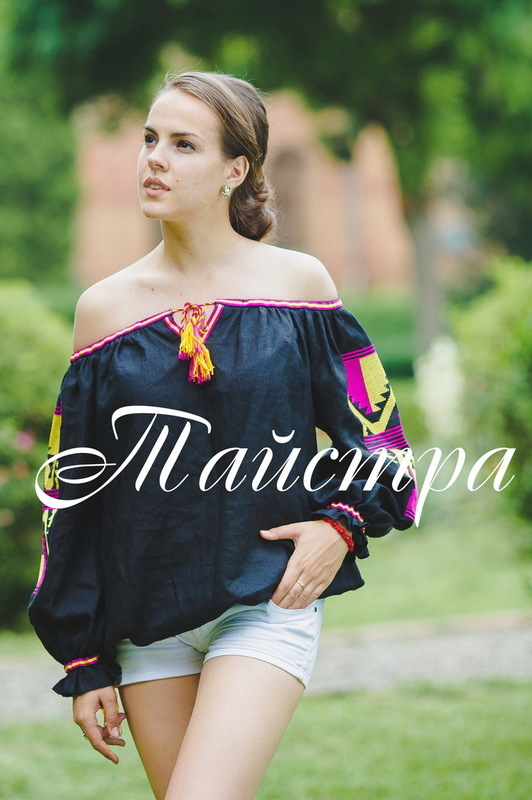 Blouse Vyshyvanka Ukrainian Embroidery with lowered shoulders, open shoulders, Blouse Linen Boho style, Embroidered clothes Bohemian, ethno