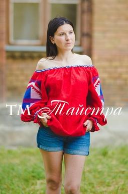 Embroidered Blouse Boho Embroidered Linen, ethno, style boho chic, Bohemian Vyshyvanka Multi Color Embroidery Linen, Ukrainian embroidery, Red Blouse open shoulders