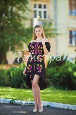 Fashionable stylish evening dress boho embroidered linen, ethno, style boho chic, Midi Dress, for the wedding, Embroidered Black Dress, Multi Color Embroidery Linen