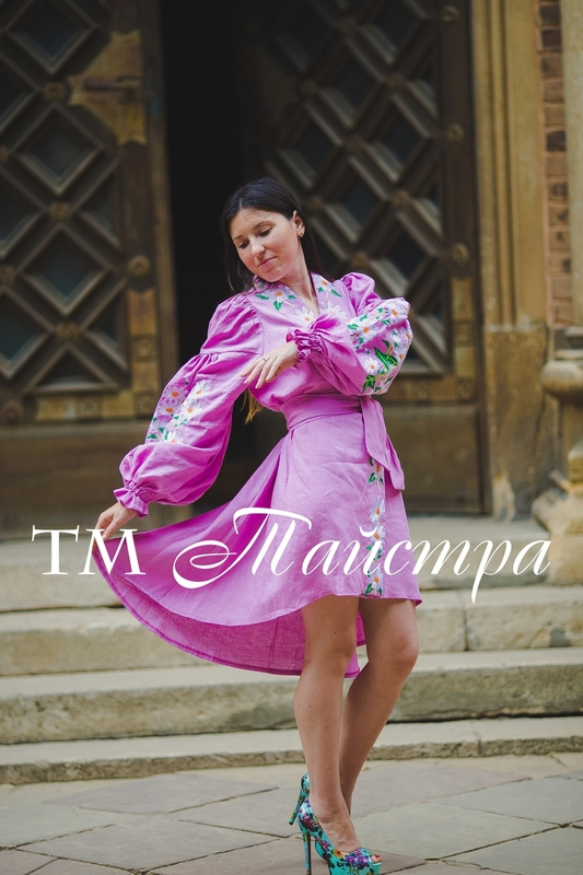 Embroidered dress Boho, ethno, style boho chic, Bohemian, Vyshyvanka Dress Multi Color Embroidery Linen, Ukrainian embroidery, Pink Dress