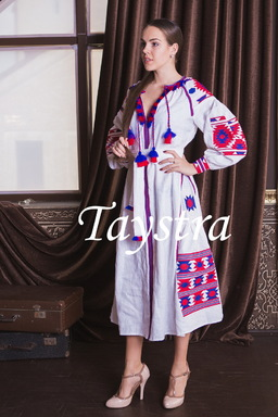 Boho Dress Embroidered, White Maxi Dress Linen, ethno, style boho chic, Bohemian Vyshyvanka Dress Multi Color Embroidery Linen, Ukrainian embroidery