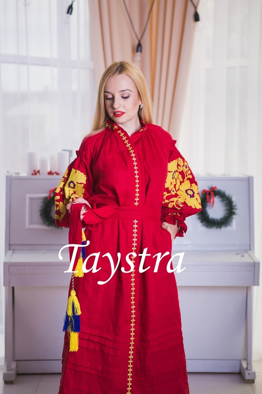 Vyshyvanka Red dress Ukrainian embroidery, Boho, ethno, style boho chic, Embroidered dress, Multi Color Embroidery Linen
