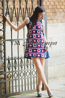 Mini Dress Embroidered Linen, ethno, style boho chic, Blue Embroidered Dress, Multi Color Embroidery Linen