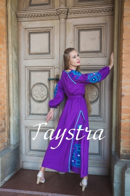 Boho embroidered linen, ethno, style boho chic, Bohemian Vyshyvanka Dress Multi Color Embroidery Linen, Ukrainian embroidery, Purple Dress, Violet  Dress