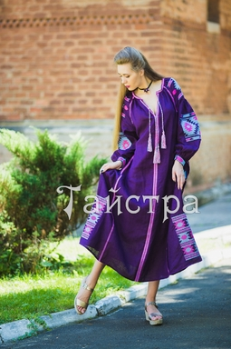 Purple violet  dress boho embroidered linen, ethno, style boho chic, Bohemian Vyshyvanka Dress Multi Color Embroidery Linen, Ukrainian embroidery
