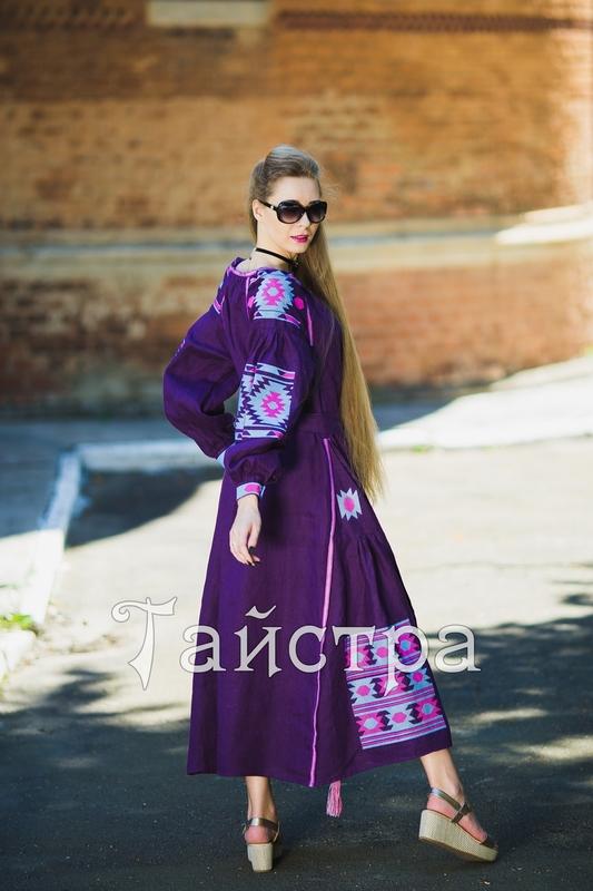 Purple violet  dress boho embroidered linen, ethno, style boho chic, Bohemian Vyshyvanka Dress Multi Color Embroidery Linen, Ukrainian embroidery