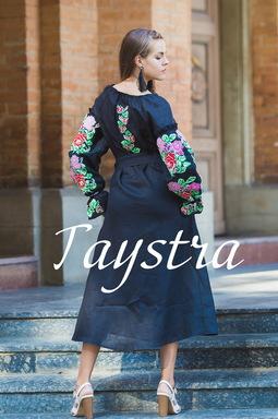 Embroidered Dress Boho, ethno, style boho chic, Bohemian, Vyshyvanka Dress Multi Color Embroidery Linen, Ukrainian embroidery, Black Embroidered Dress,Fashionable Stylish Evening Dress
