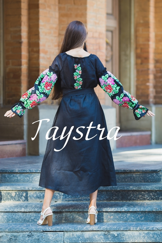 Embroidered Dress Boho, ethno, style boho chic, Bohemian, Vyshyvanka Dress Multi Color Embroidery Linen, Ukrainian embroidery, Black Embroidered Dress,Fashionable Stylish Evening Dress