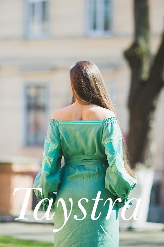 Vyshyvanka, Green Embroidered dress Ukrainian embroidery, Boho, ethno, style boho chic, Embroidered dress, Multi Color Embroidery Linen