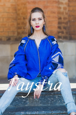 Ukrainian Еmbroidery Blouse Vyshyvanka Embroidered, Blue Blouse Linen, ethno, style boho chic, Bohemian Vyshyvanka Multi Color Embroidery Linen
