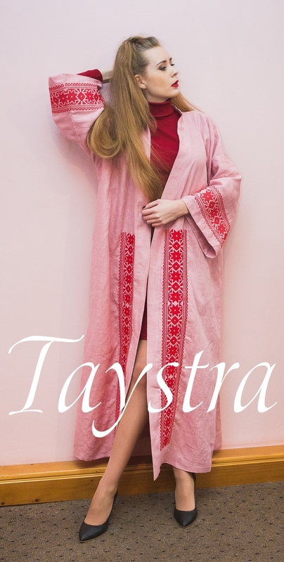 Embroidered Dress in Oriental style, Arabic Style, Bisht Embroidered linen,Abaya Embroidered Linen