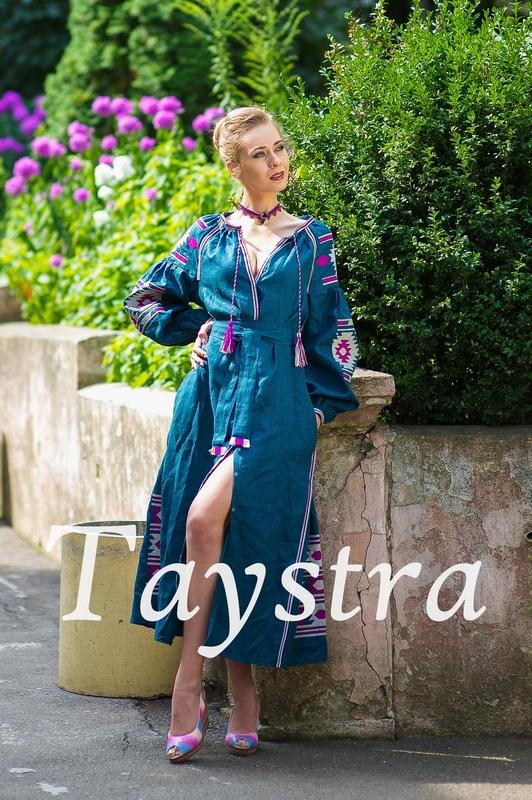 Boho dress embroidered ethno, style boho chic, Bohemian Vyshyvanka Dress Multi Color Embroidery Linen, Ukrainian embroidery