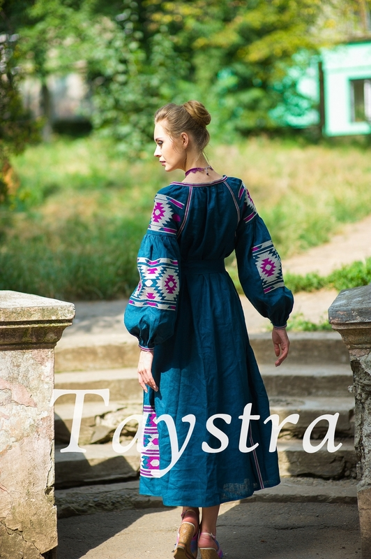 Boho dress embroidered ethno, style boho chic, Bohemian Vyshyvanka Dress Multi Color Embroidery Linen, Ukrainian embroidery
