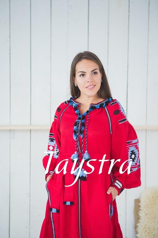 Vyshyvanka  Ukrainian embroidery, Boho, ethno, style boho chic, Embroidered dress, Multi Color Embroidery Linen, Red dress