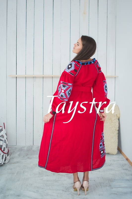 Vyshyvanka  Ukrainian embroidery, Boho, ethno, style boho chic, Embroidered dress, Multi Color Embroidery Linen, Red dress