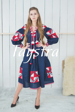 Embroidered dress Boho,4 wedges, ethno, style boho chic, Bohemian, Vyshyvanka Dress Multi Color Embroidery Linen, Ukrainian embroidery