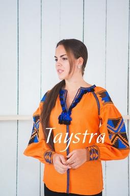 Boho Blouse Embroidered, Orange Blouse linen, ethno, style boho chic, Bohemian Vyshyvanka  Multi Color Embroidery Linen, Ukrainian embroidery