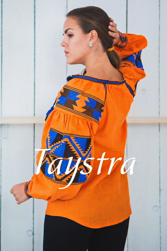 Boho Blouse Embroidered, Orange Blouse linen, ethno, style boho chic, Bohemian Vyshyvanka  Multi Color Embroidery Linen, Ukrainian embroidery