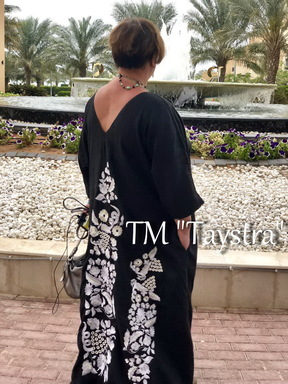 Arabic Dress Embroidered Maxi Dress Arabic Black Embroidered Dress Linen Style Abaya