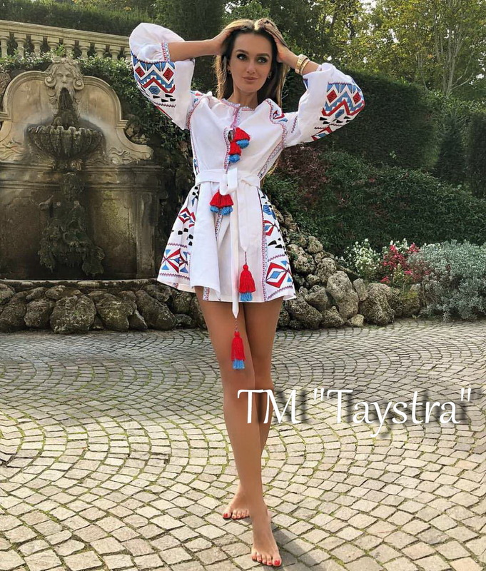 Boho Dress Embroidered Vyshyvanka Dress Multi Color Embroidery Linen Dress Ukrainian embroidery