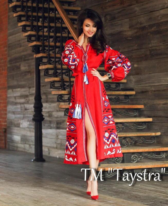 Boho Dress Embroidered Vyshyvanka Red Maxi Dress Multi Color Embroidery Linen Dress Ukrainian embroidery
