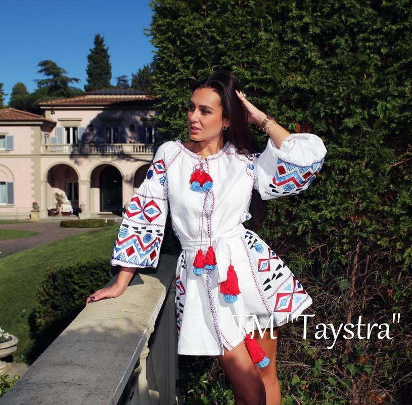 Boho Dress Embroidered Vyshyvanka Dress Multi Color Embroidery Linen Dress Ukrainian embroidery