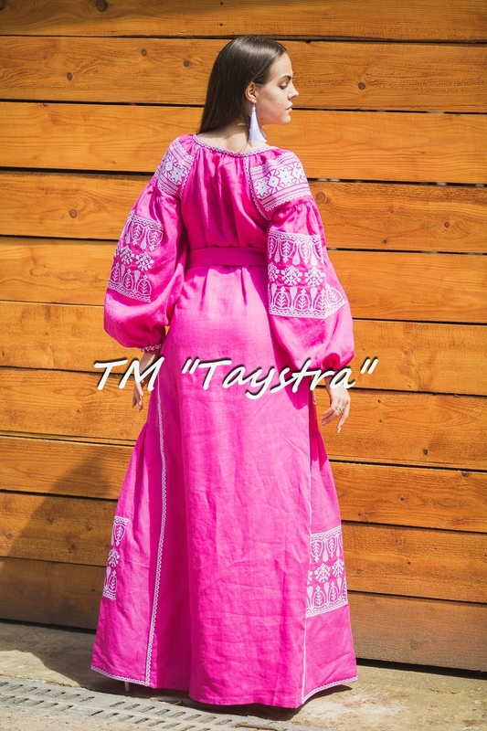 Embroidered dress Boho, ethno, style boho chic, Bohemian, Vyshyvanka Dress Multi Color Embroidery Linen, Ukrainian embroidery, Pink Dress, Maxi Dress