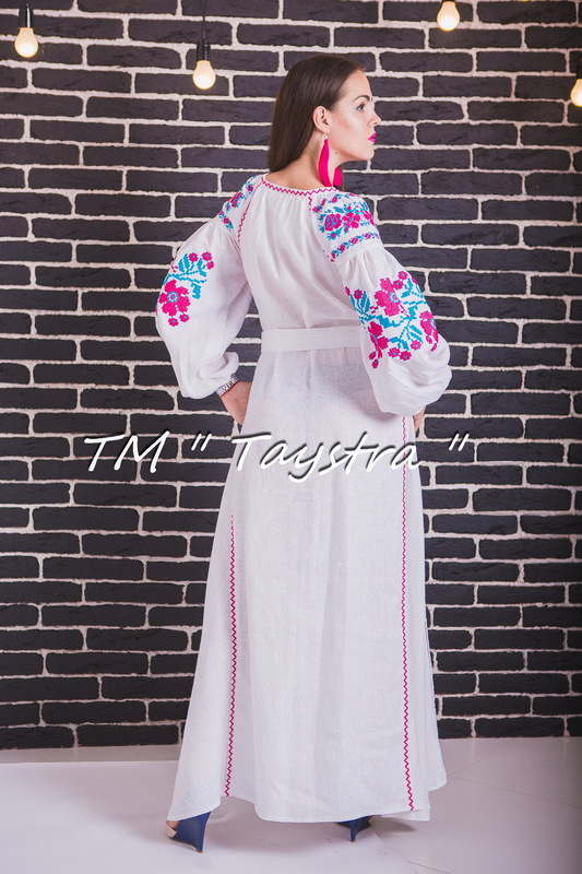 Vyshyvanka Maxi Dress, White Dress Ukrainian embroidery, Boho, ethno, style boho chic, Embroidered dress, Multi Color Embroidery Linen