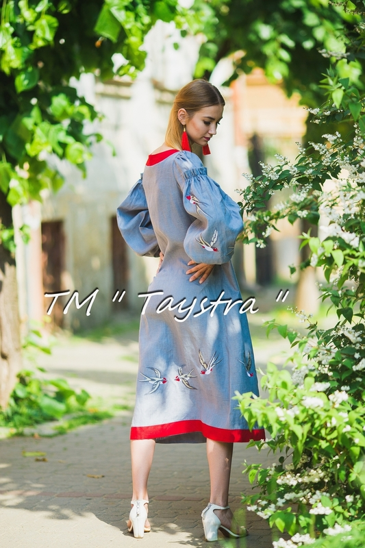 Embroidered dress Boho, ethno, style boho chic, Bohemian, Vyshyvanka Dress Multi Color Embroidery Linen, Ukrainian embroidery, Gray Dress