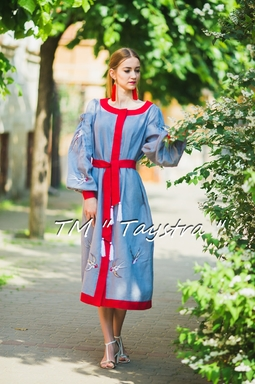 Embroidered dress Boho, ethno, style boho chic, Bohemian, Vyshyvanka Dress Multi Color Embroidery Linen, Ukrainian embroidery, Gray Dress