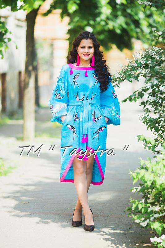 Embroidered dress Boho, ethno, style boho chic, Bohemian, Vyshyvanka Dress Multi Color Embroidery Linen, Ukrainian embroidery