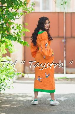 Embroidered dress Boho, ethno, style boho chic, Bohemian, Vyshyvanka Dress Multi Color Embroidery Linen, Ukrainian embroidery,Orange Dress