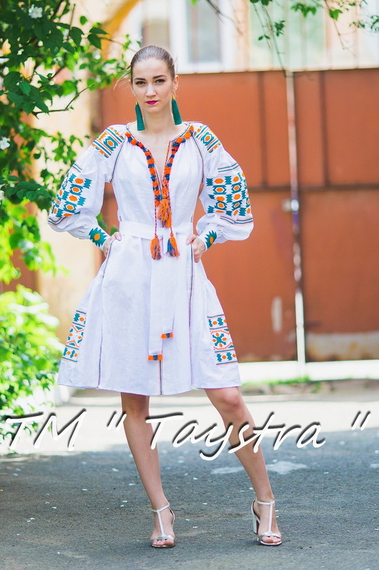 Boho dress embroidered , White linen, ethno, style boho chic, Bohemian Vyshyvanka Dress Multi Color Embroidery Linen, Ukrainian embroidery