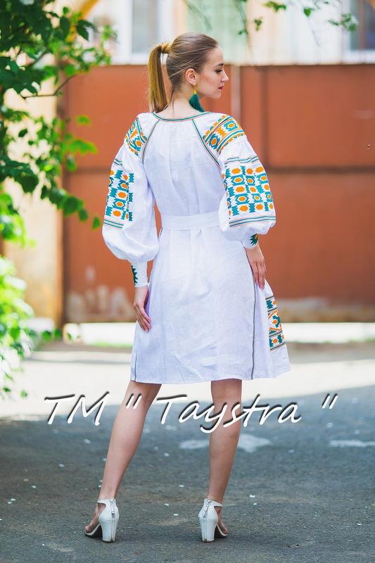 Boho dress embroidered , White linen, ethno, style boho chic, Bohemian Vyshyvanka Dress Multi Color Embroidery Linen, Ukrainian embroidery